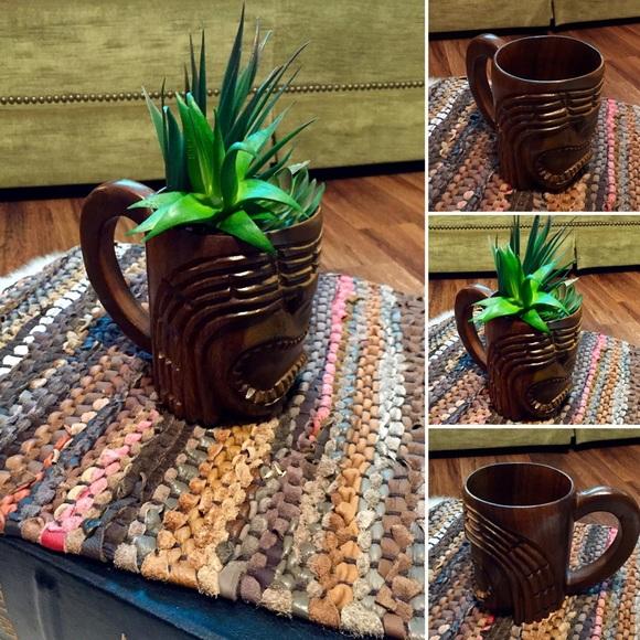 SOLD 🦋2/$10 3/$15 4/$18 5/$20 Wood Tiki Mug